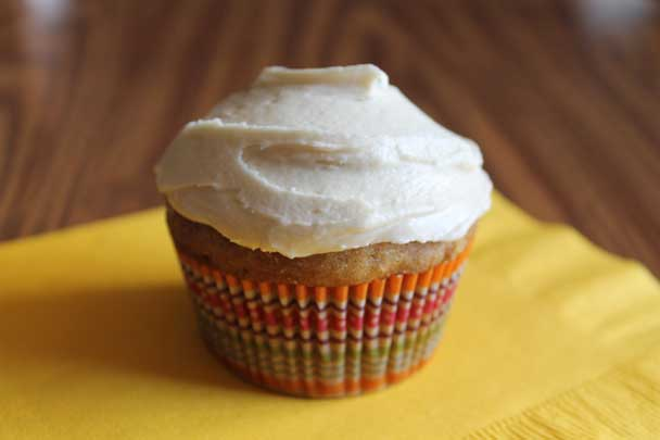 zucchini spice cupcake with caramel frosting
