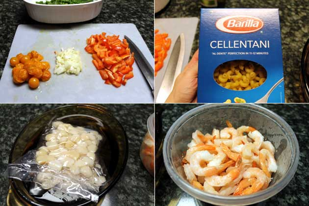 ingredients for Shrimp-Scallop and veggie pasta