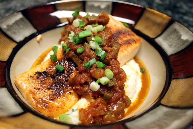 broiled cajun salmon with creole sauce