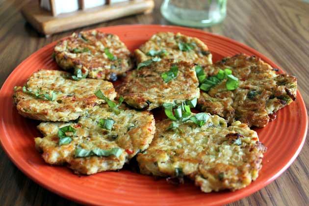plateful of zucchini pancakes
