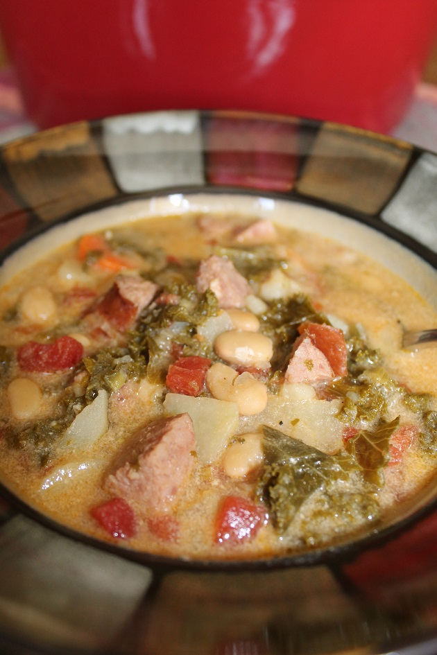 Bowlful of white bean, kale & sausage soup