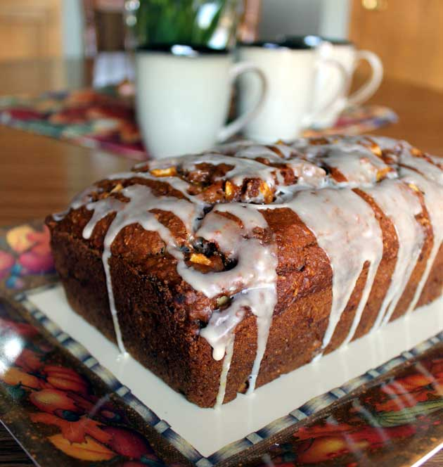 pumpkin apple bread with maple glaze