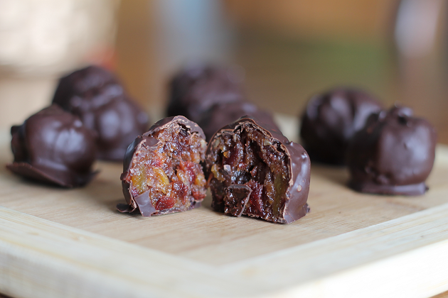 dark chocolate covered fruit and nut balls