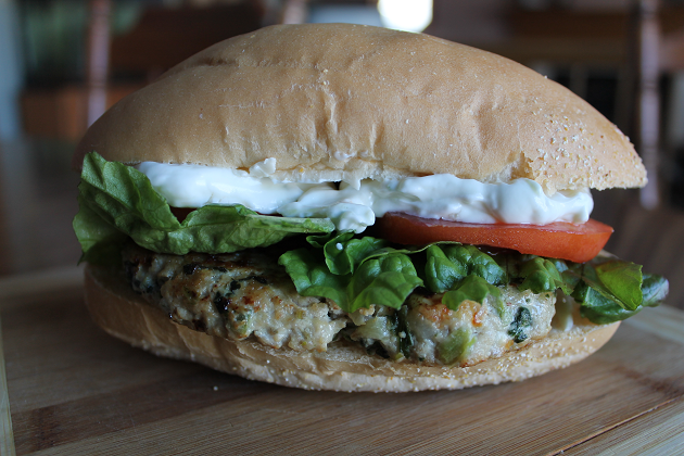 Greek chicken burger hoagie