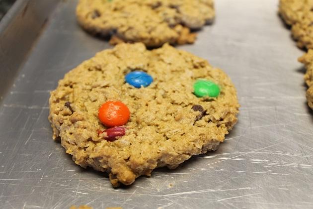 freshly baked flourless oatmeal monster cookie